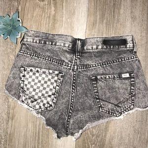 Vans Checkerboard Hi Waisted Vintage Denim Shorts